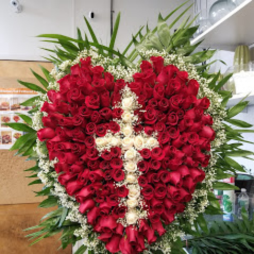 All Rose Heart With Cross