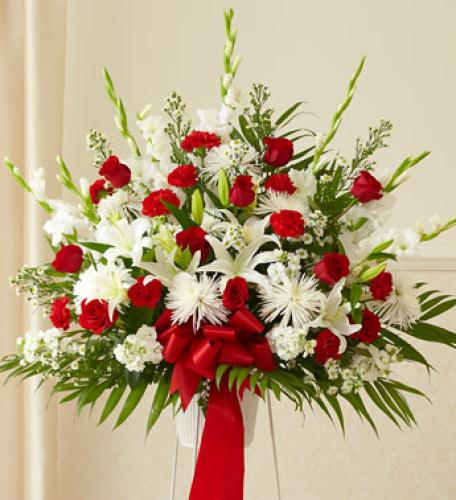 Heartfelt Sympathies Red & White Standing Basket