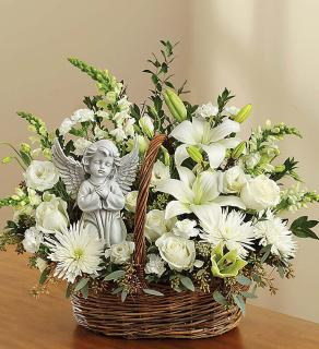 Heavenly Angel All White Basket