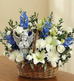 Heavenly Angel Blue and White Basket