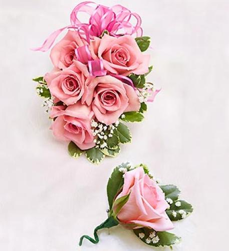 Pink Rose Corsage & Boutonniere
