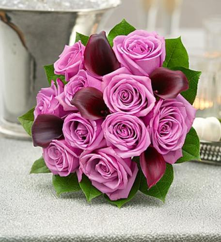 Purple Elegance Rose and Mini Calla Lily Bouquet