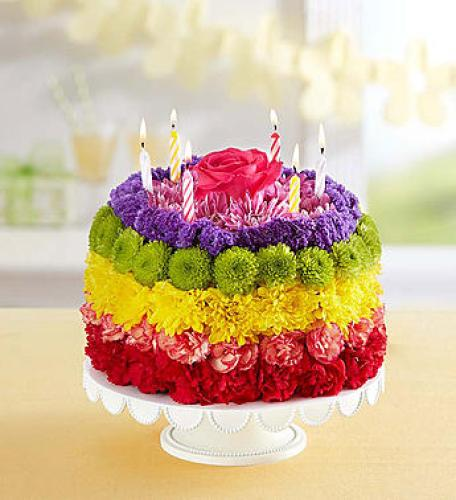 Birthday Wishes Flower Cake Rainbow